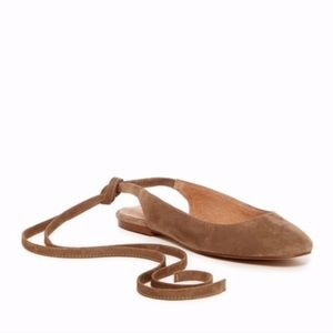 Madewell Tan Suede April Ankle Wrap Flats
